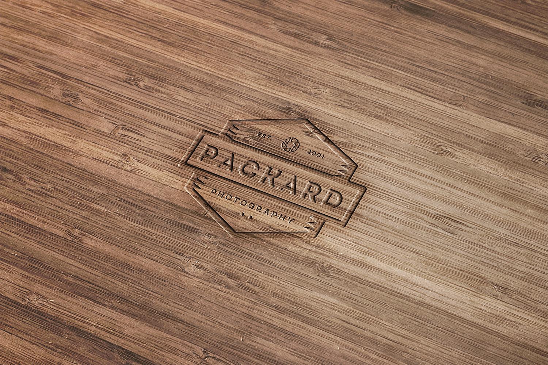 Engraved Wood Mockup Free PSD