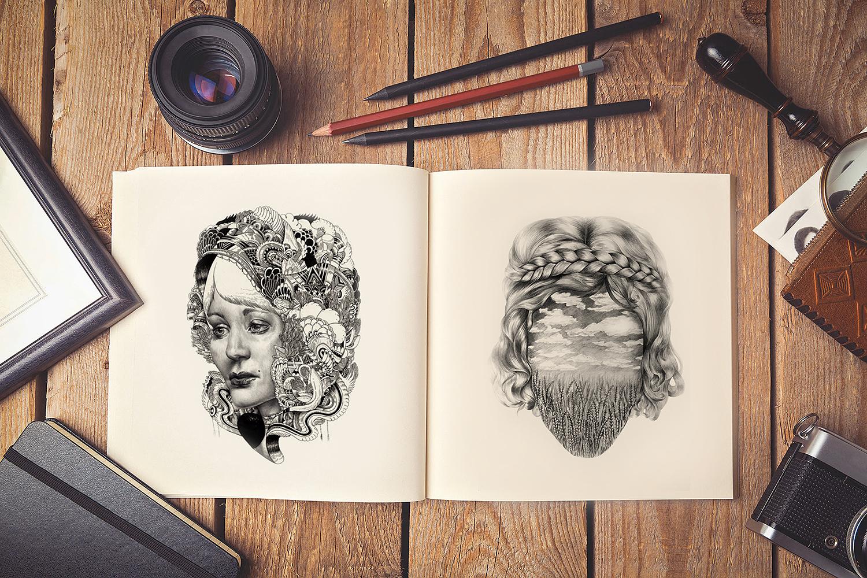 Free Artist Sketch Book PSD Mockup