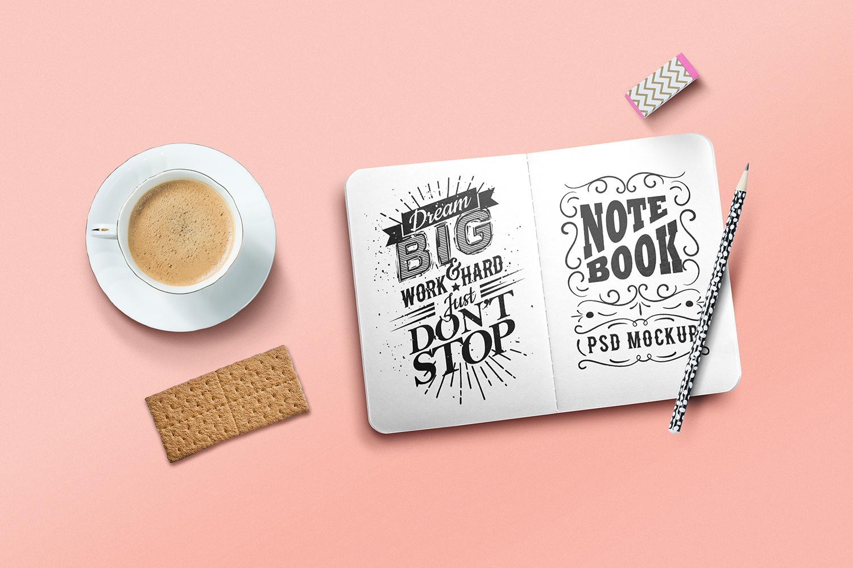 Free Sketchbook PSD Mockup