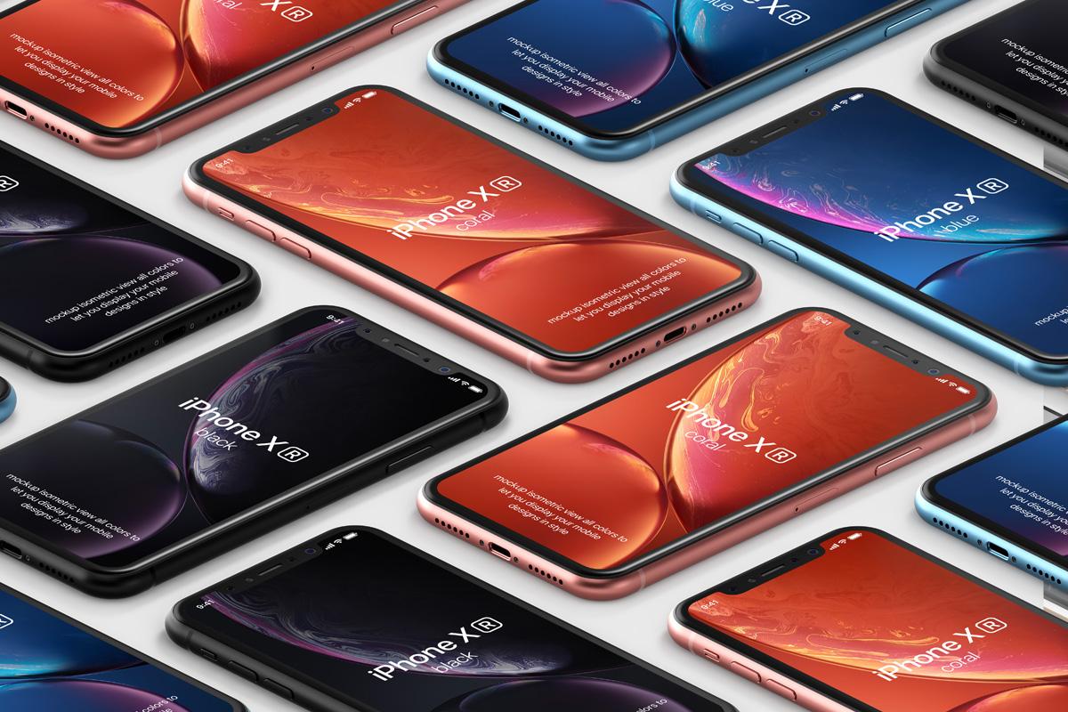 iPhone XR Isometric Mockup