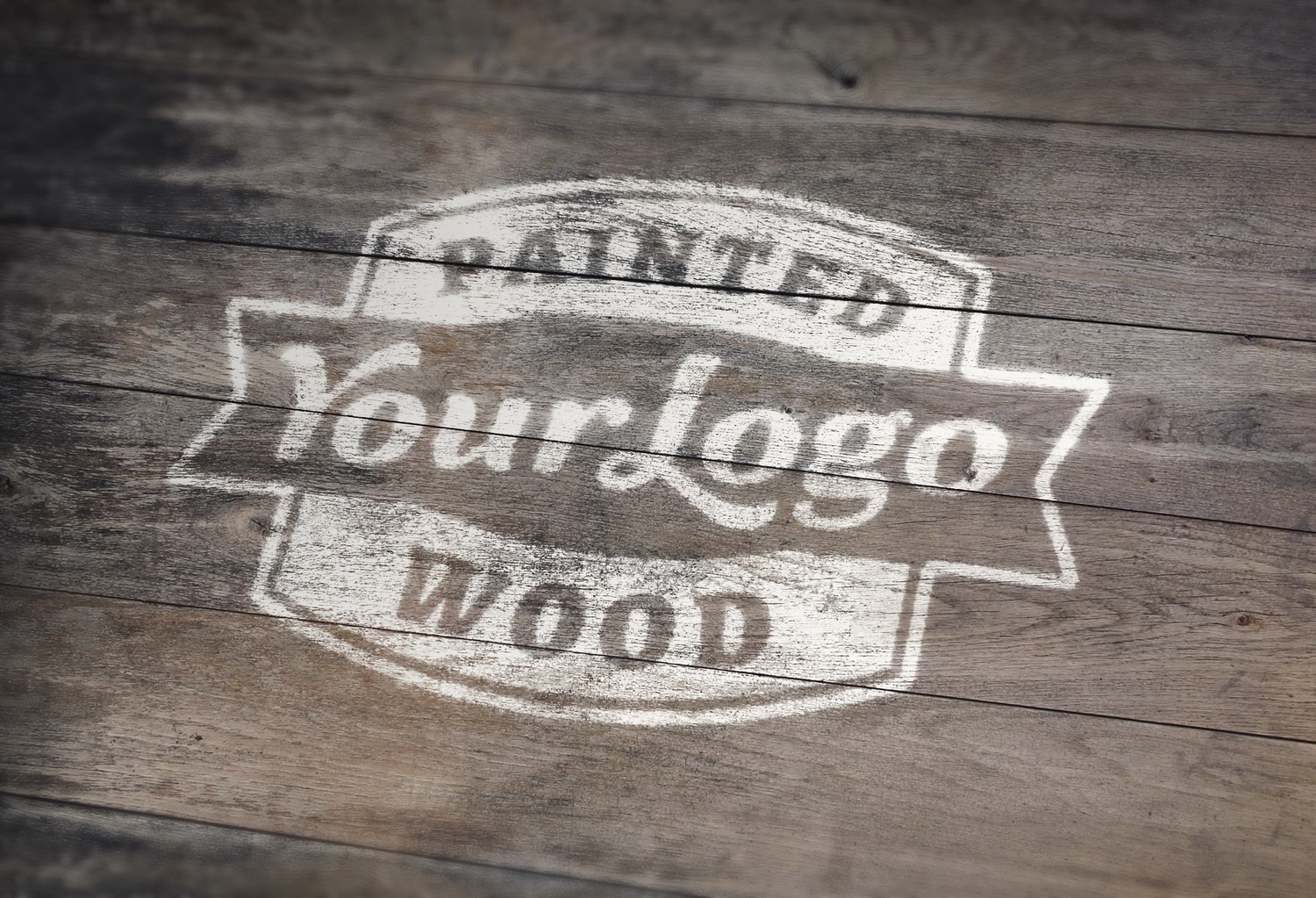 Painted Wood Logo PSD Mockup