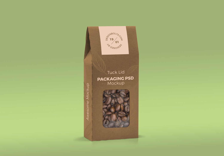 Free Tuck Lid Window Box Packaging PSD Mockup