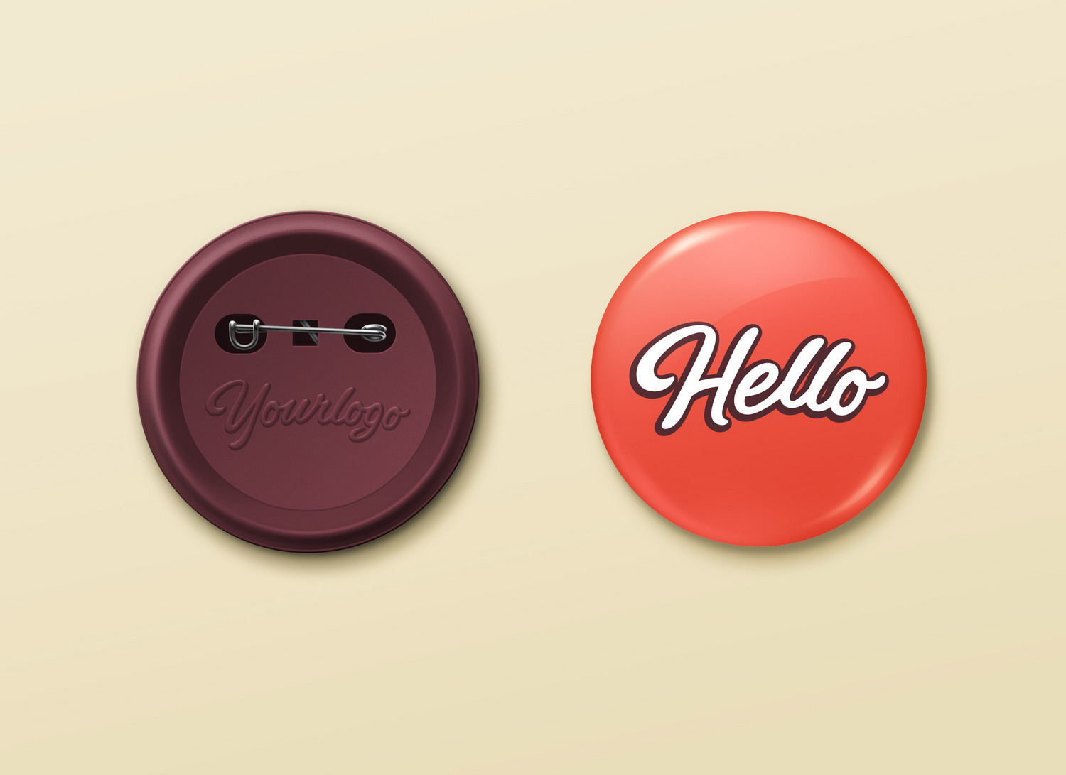Pin Button Badge PSD Mockup