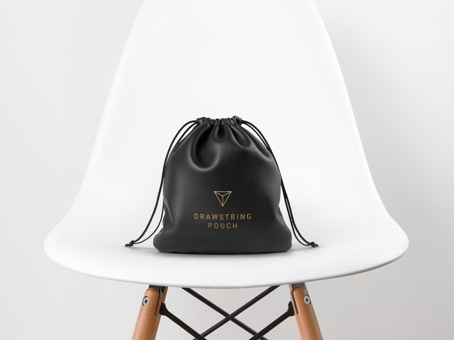 Leather Drawstring Pouch PSD Mockup