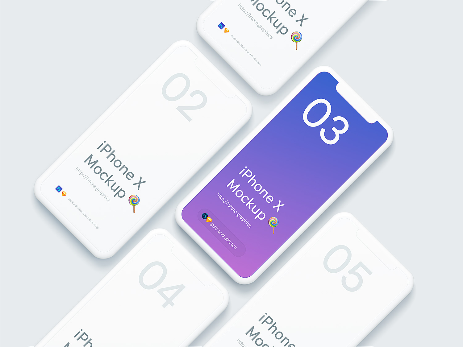 Simple iPhone X Mockups PSD & Sketch