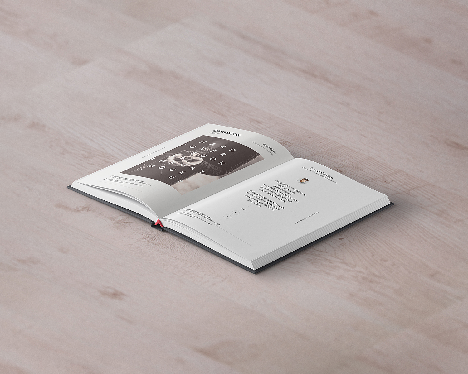Free Open Hardcover Book Mockup PSD