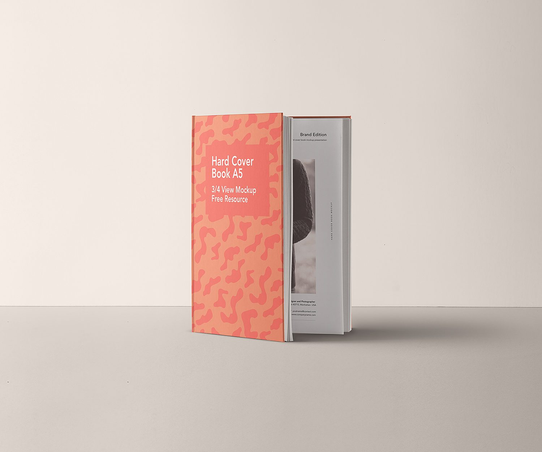 A5 Hardcover Book Mockup PSD