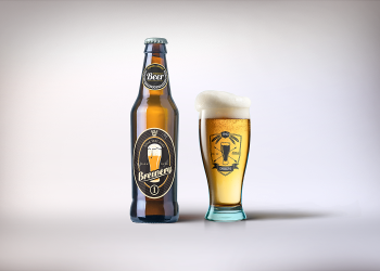 Beer with Glass Mockup PSD