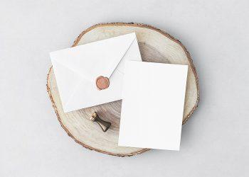 Free Invitation Card with Envelope Mockup