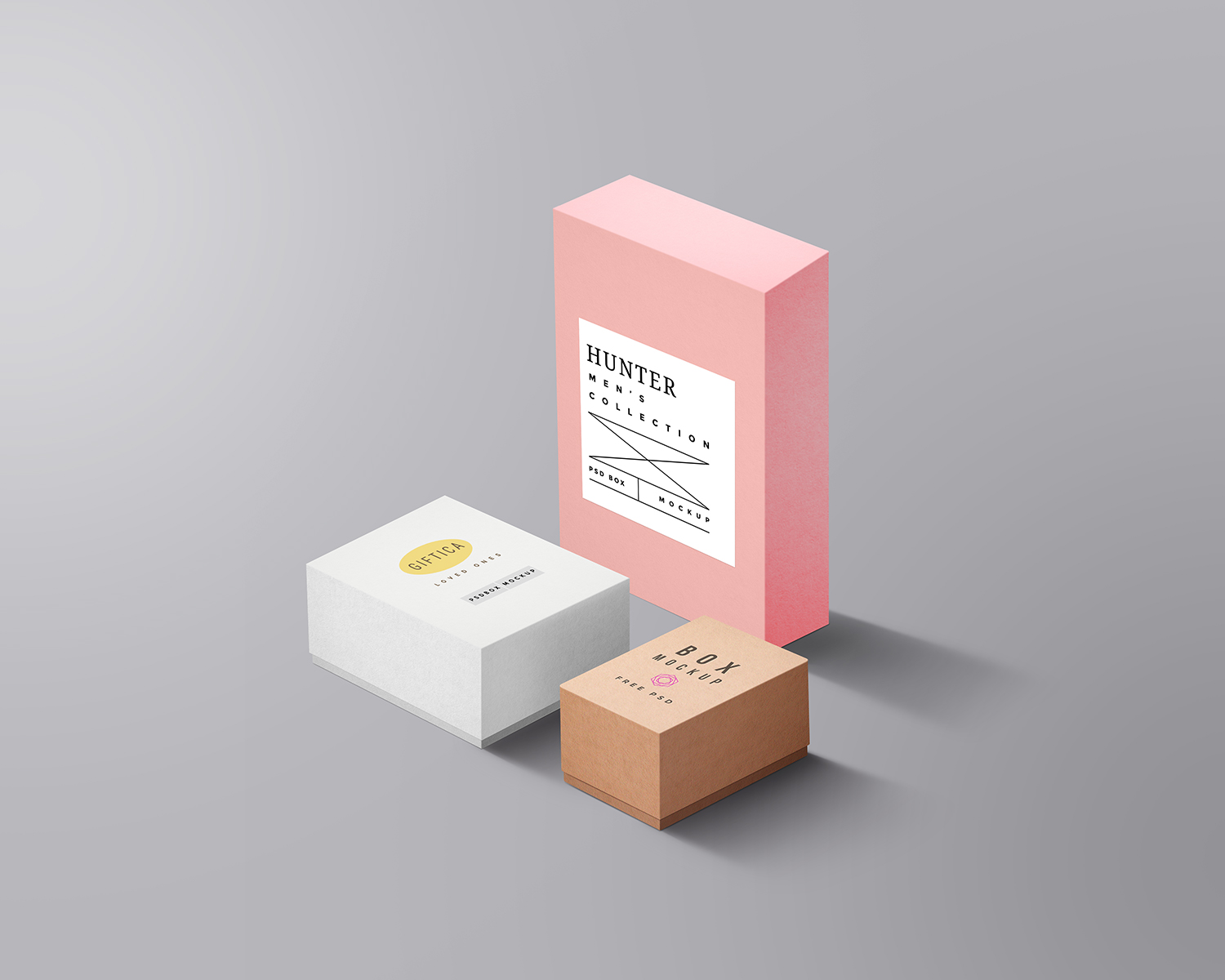 Free Packaging Boxes PSD Mockup