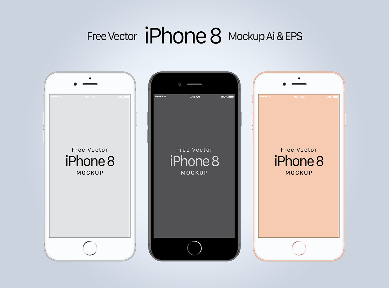 Free iPhone 8 Mockup Ai & EPS
