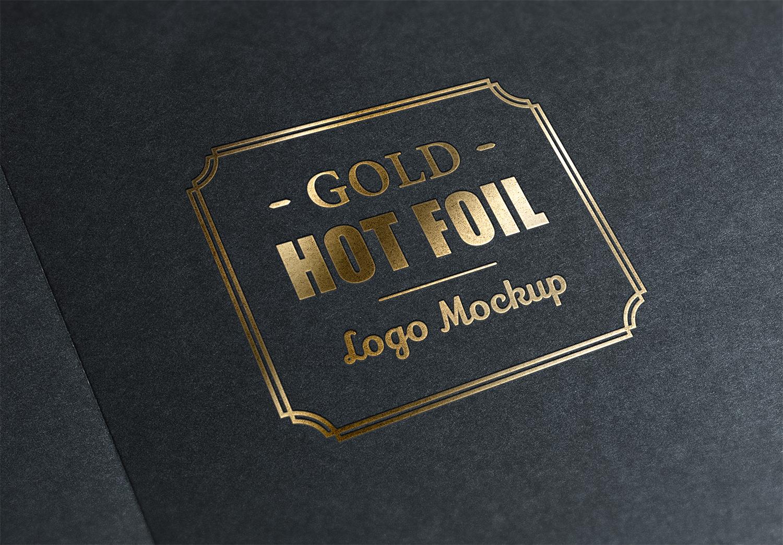 Gold Stamping Logo PSD Mockup