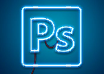 Neon Light Photoshop Effect Mockup
