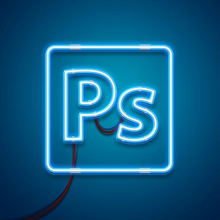 Neon Light Photoshop Effect Mockup