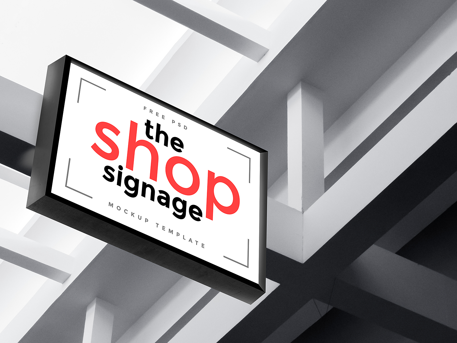 Outdoor Shop Signage Mockup PSD