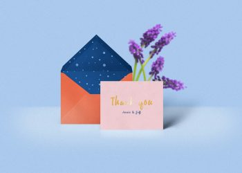 Thank You Card with Envelope Mockup
