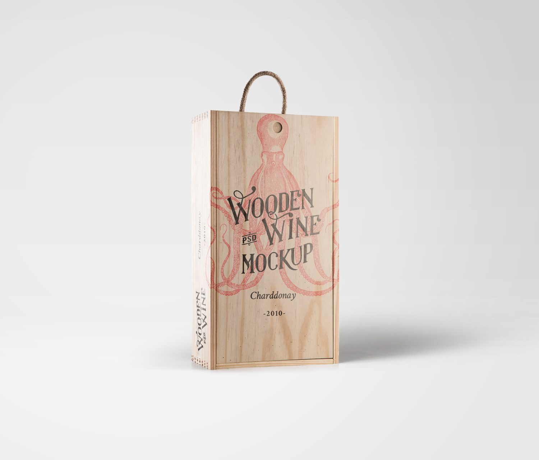 Wine Wood Box Mockup PSD