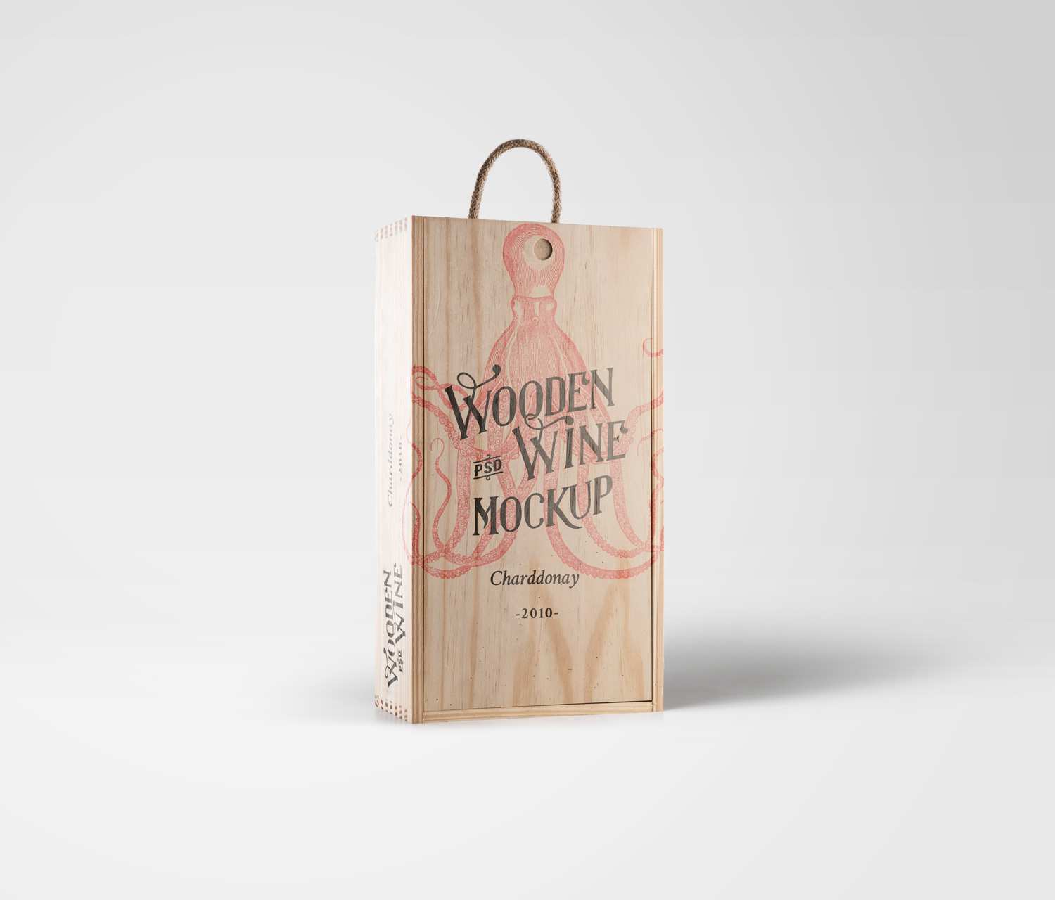 Wine Wood Box Mockup PSD