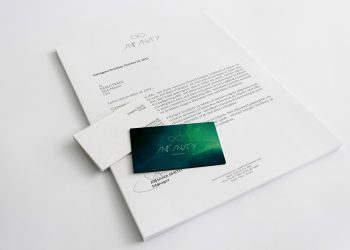 A4 Letterhead Business Cards Mockup