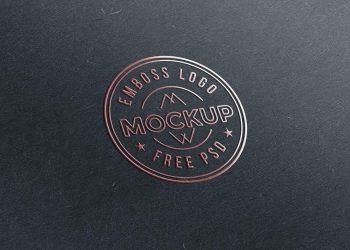 Emboss Paper Logo Mockup Free PSD