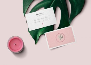 Feminine Business Card PSD Mockup