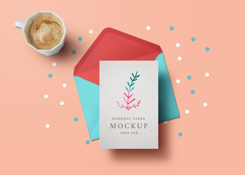 Free Holiday Greeting Card Mockup PSD