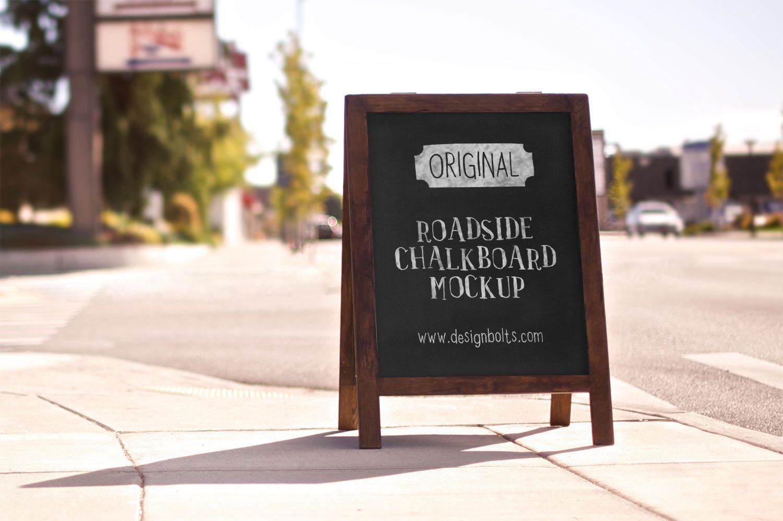Free Outdoor Chalkboard PSD Mockup Advertising