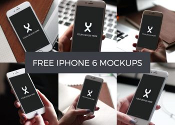 Girl Carrying 6 iPhone 6 PSD Mockups