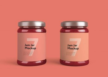 Jam Bottle Free PSD Mockup