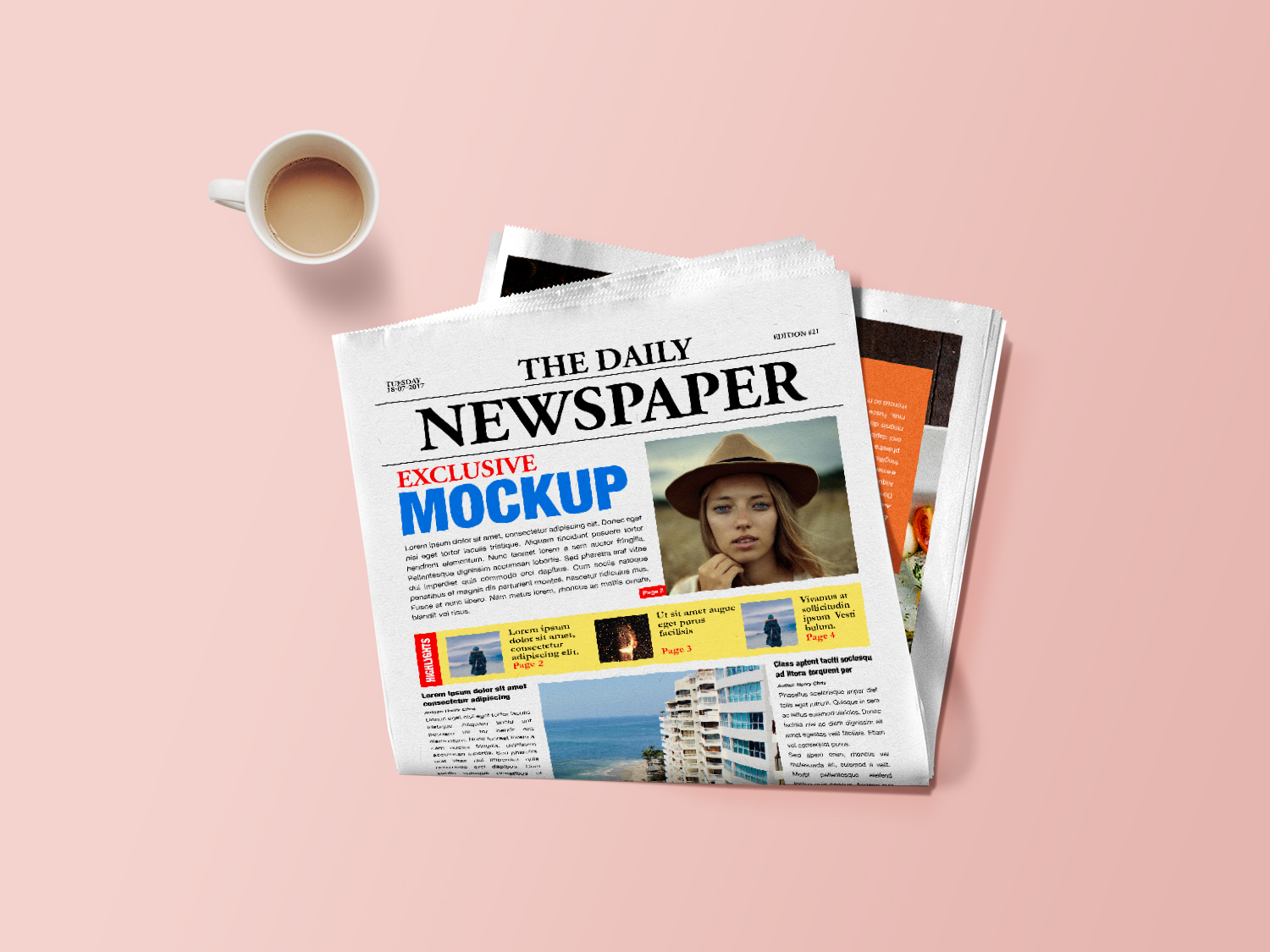 Newspaper Mockup PSD