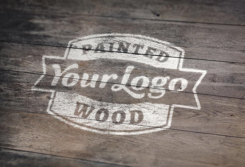 Painted Wood Logo PSD Mockup