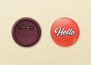 Pin Button Badge PSD Mockup
