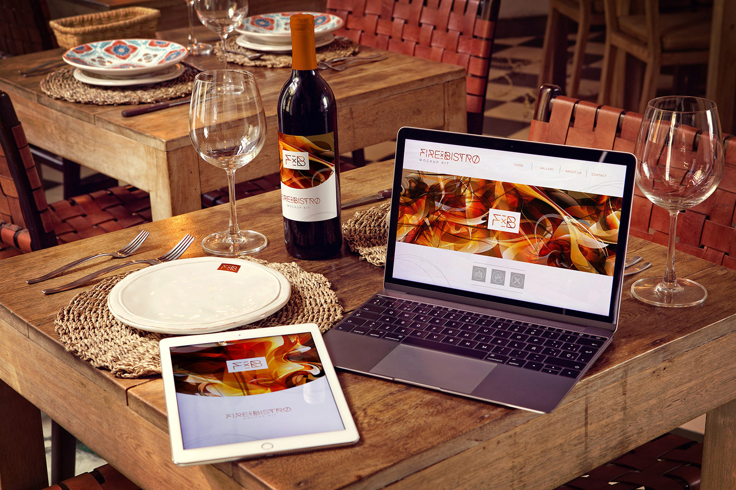 Wine Bottle iPad Air 2 Macbook Mockup