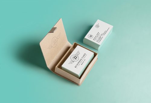 Business Card Inside Square Box Mockup