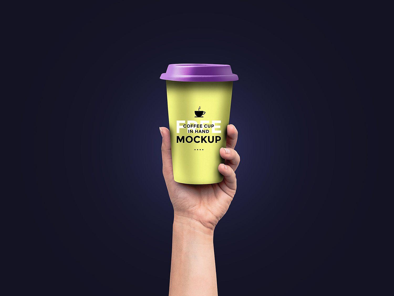 Coffee Cup Hand PSD Mockup