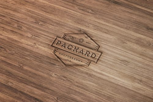 Engraved Wood Mockup Free PSD