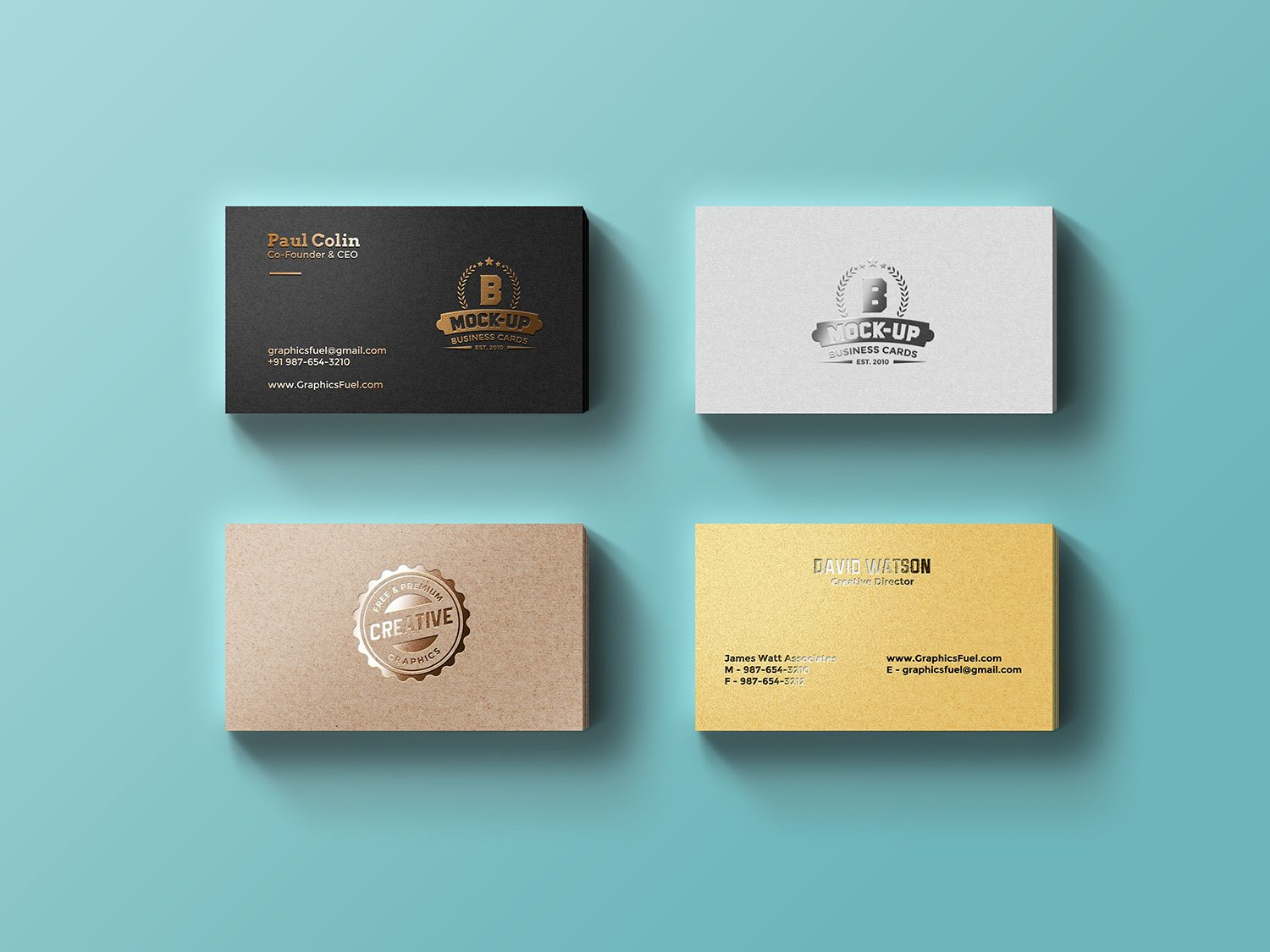 Foil Business Cards Free PSD Mockup