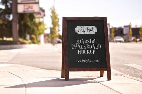 Free Roadside Chalkboard Mockup PSD