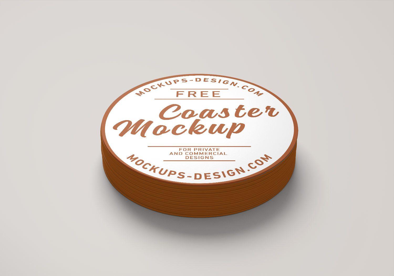 Round Drink Beverages Coaster Mockup PSD