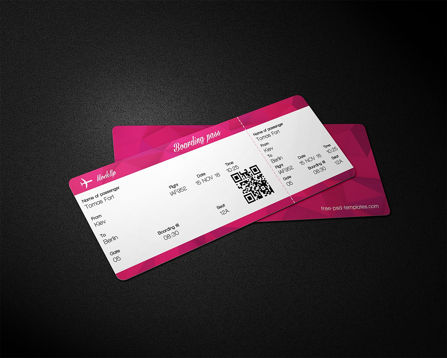 Free Ticket Mockup PSD