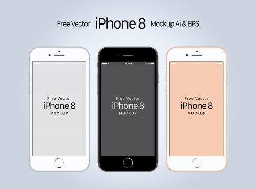 Free iPhone 8 Mockup Ai & EPS