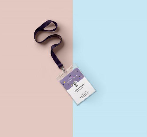 Identity Card Holder Mockup PSD