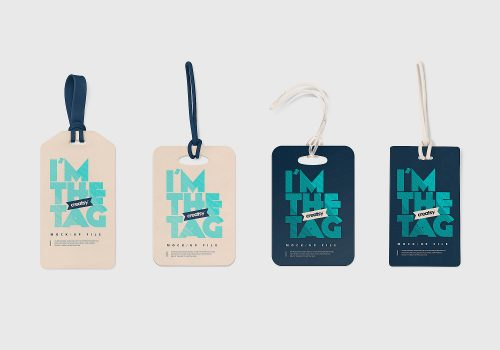 Luggage Diaper Tag Mockups PSD