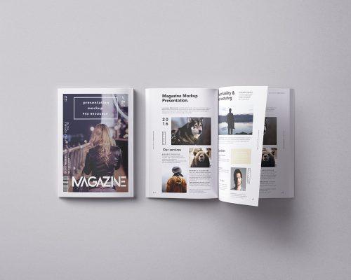 Magazine Mockup Double Overhead