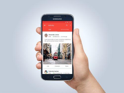 Samsung Galaxy S6 in Hand Mockup