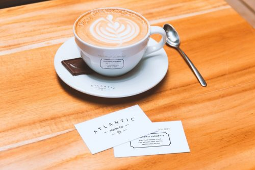 Business Cards Coffee Cup PSD Mockup