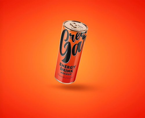 Energy Drink Tin Can Mockup PSD