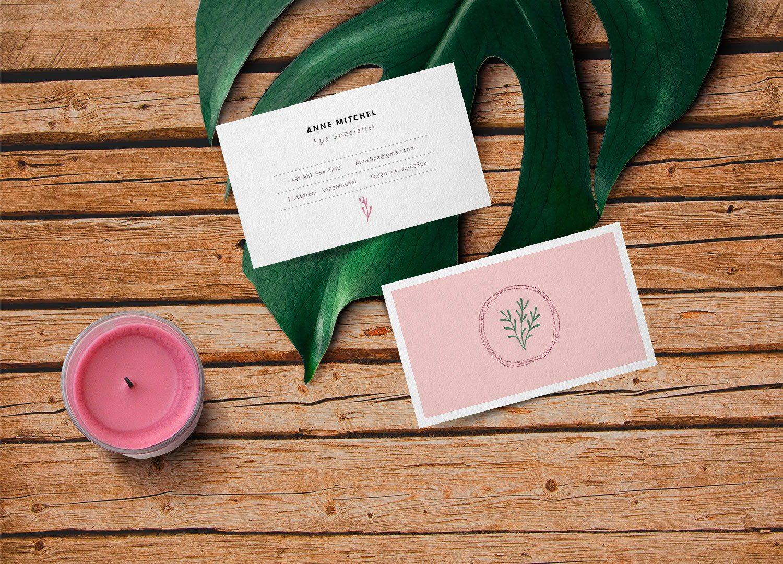 Feminine Business Card PSD Mockup
