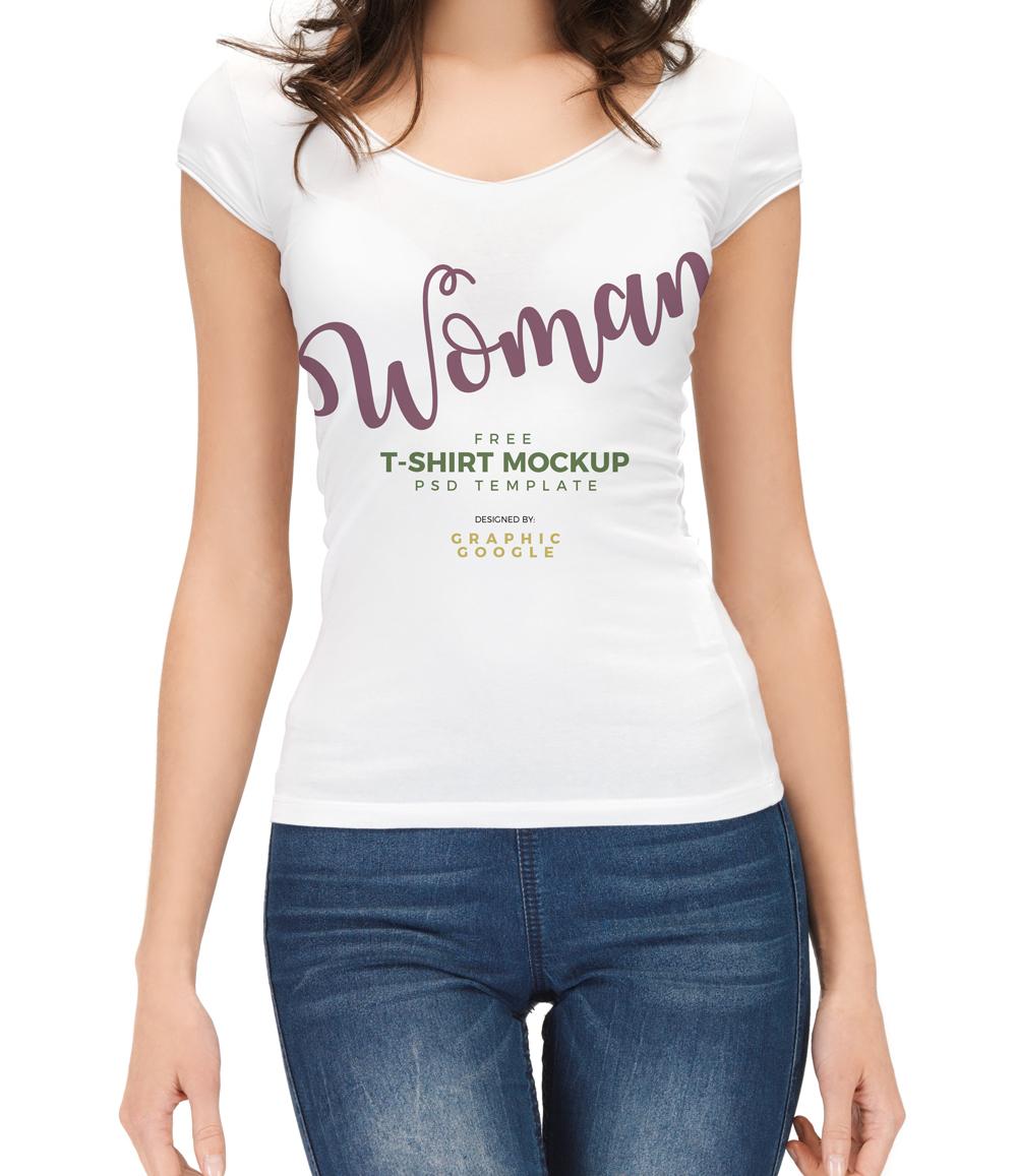 Free Woman Wearing T-Shirt PSD Mockup