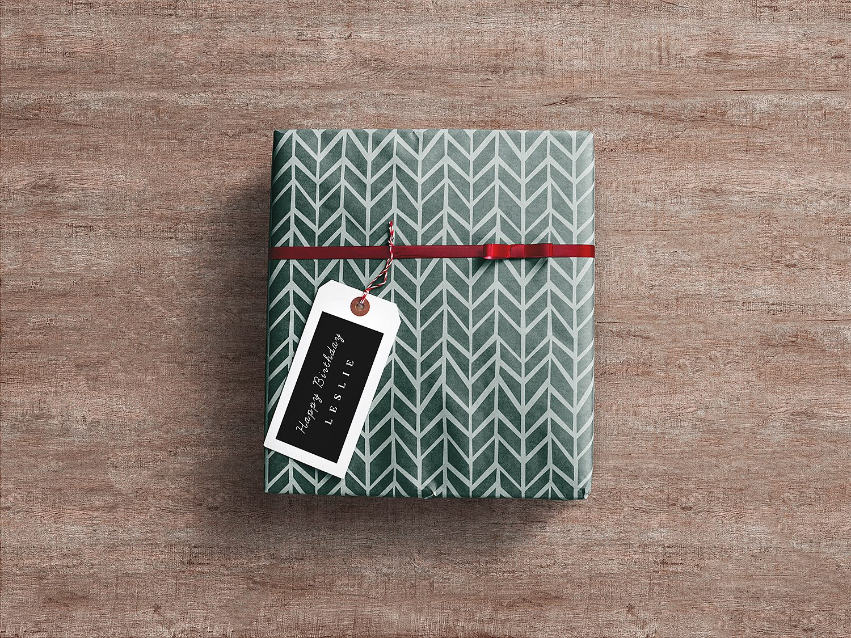 Gift Wrap Box PSD Mockup